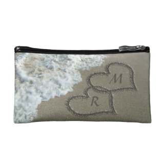 Personalized Romantic Sand Hearts Beach Makeup Bag