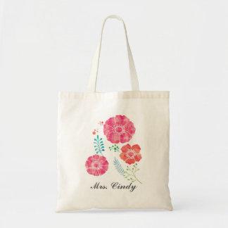 Personalized Romantic Watercolor Flowers Tote Bag