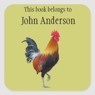 Personalized Rooster Bookplate Sticker Square Sticker