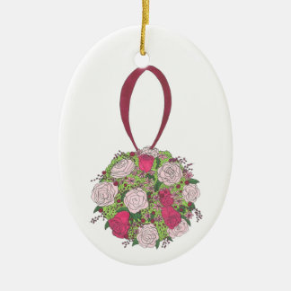 Personalized Rose Floral Bouquet Wedding Ornament
