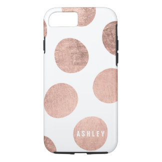 Personalized rose gold hand drawn polka dots iPhone 7 case