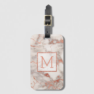 personalized rose gold monogram marble luggage tag