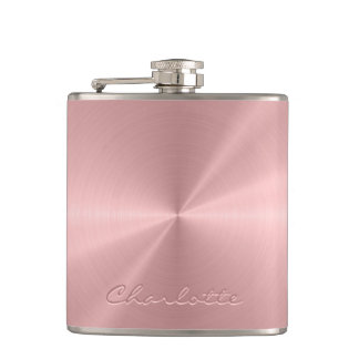 Personalized Rose Gold Stainless Steel Metallic Hip Flask