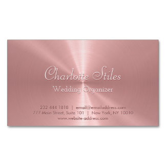 Personalized Rose Gold Stainless Steel Metallic Magnetic Business Card