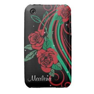 Personalized Rose leaves and Swirls Case-Mate iPhone 3 Cases