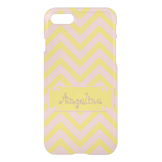Personalized Rose Quartz Buttercup Chevrons Clear iPhone 8/7 Case