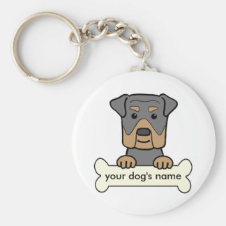 Personalized Rottweiler Basic Round Button Key Ring