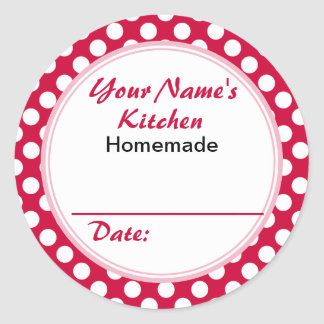 Personalized Round Baking Cooking Labels Red Dots