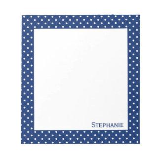 Personalized Royal Blue  Polka Dot Pattern Notepad