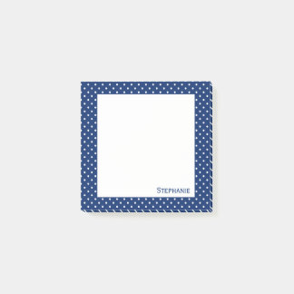 Personalized Royal Blue  Polka Dot Pattern Post-it Notes