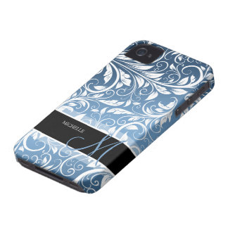 Personalized Royal Blue White Floral Damask iPhone 4 Case-Mate Case