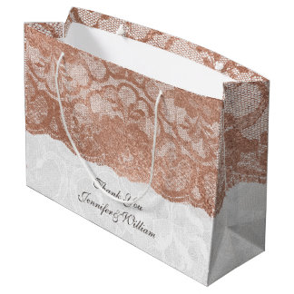 Personalized Royal Wedding Blush Pink Gold Lace Large Gift Bag