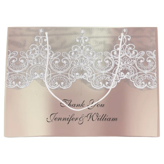 Personalized Royal Wedding Rose Metallic Pink Gold Large