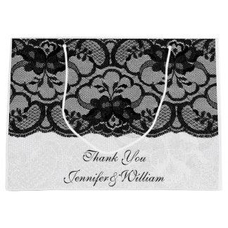 Personalized Royal Wedding White Black Lace Large Gift Bag