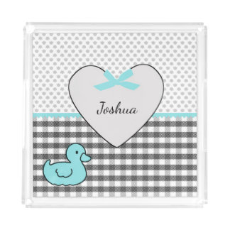 Personalized Rubber Duck and Heart Acrylic Tray