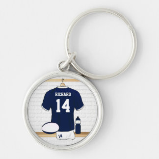 Personalized Rugby Jersey in locker room Silver-Colored Round Key Ring