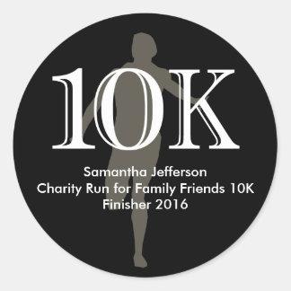 Personalized Runner 10k Cross-Country Keepsake Round Sticker
