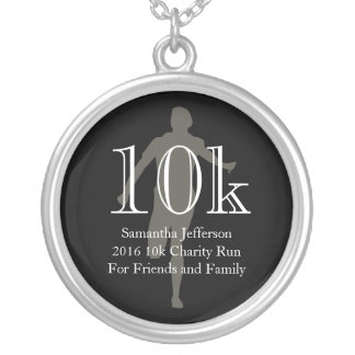 Personalized Runner 10k Cross-Country Keepsake Silver Plated Necklace