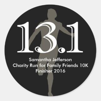 Personalized Runner 13.1 Half Marathon Keepsake Round Sticker