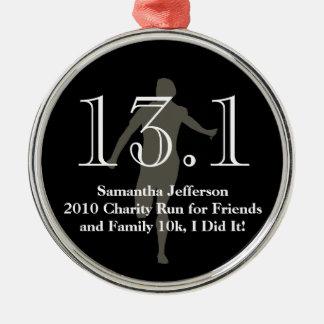 Personalized Runner 13.1 Half Marathon Keepsake Silver-Colored Round Decoration
