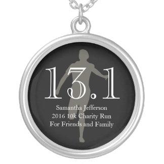 Personalized Runner 13.1 Half Marathon Keepsake Silver Plated Necklace