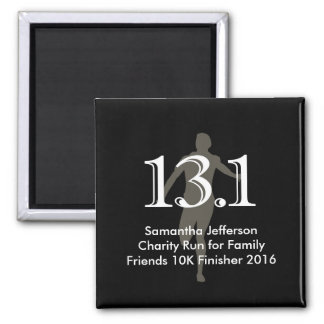 Personalized Runner 13.1 Half Marathon Keepsake Square Magnet