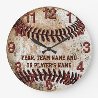PERSONALIZED Rustic Baseball Gifts for Team or Sen Wallclock
