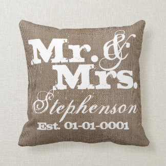 Personalized Rustic Burlap-Look Wedding Keepsake Cushion