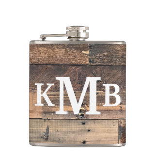 Personalized Rustic Chic Wood Classic Monogram Hip Flask
