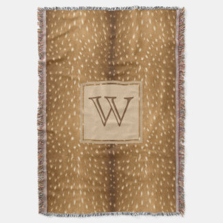 Personalized -  Rustic Fawn Deer Fur Print Throw Blanket