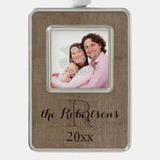 Personalized Rustic Monogram Family Name Photo Silver Plated Framed Ornament