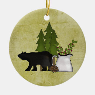 Personalized Rustic Mountain Country Bear Christmas Ornament