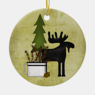 Personalized Rustic Mountain Country Moose Holiday Christmas Ornament