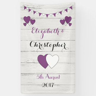 Personalized rustic Wedding Backdrop Purple Banner