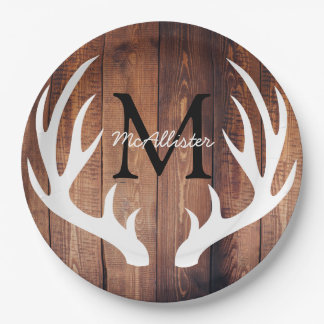 Personalized - Rustic White Deer Antlers Barn Wood 9 Inch Paper Plate
