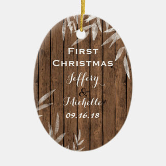 Personalized Rustic Willow on Wood 1st Christmas Ceramic Oval Decoration