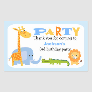 Personalized Safari Animals Birthday Sticker