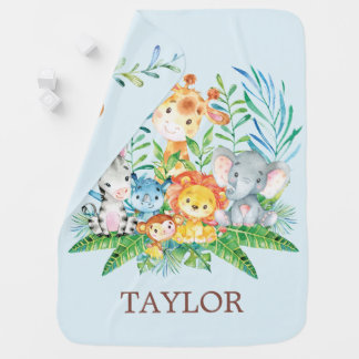 Personalized Safari Jungle Boys Receiving Blanket