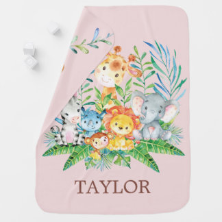 Personalized Safari Jungle Girl  Receiving Blanket