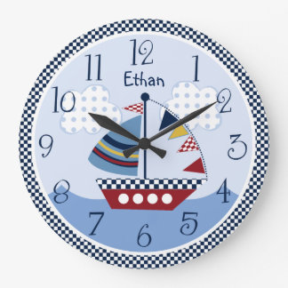 "Personalized ""Sail Away/Nautical/Boats Baby Clock"