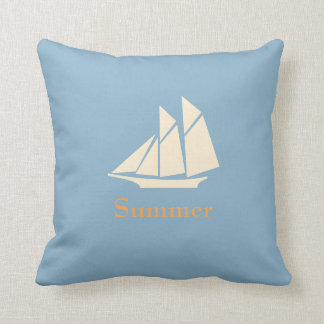 Personalized,Sail Boat,Blue Throw Pillow Cushion