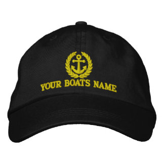 Personalized sailing boat captains embroidered hat