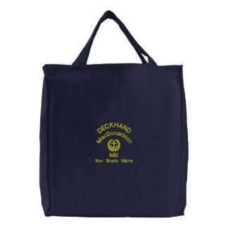Personalized sailing deckhand crew and boats name embroidered tote bags