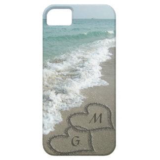 Personalized Sand Hearts on the Beach Case For The iPhone 5