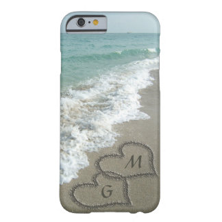 Personalized Sand Hearts on the Beach iPhone 6 Case