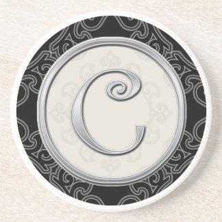 Personalized Sandstone Coasters:Silver Monogram C Beverage Coasters