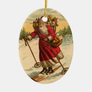 Personalized Santa Claus Skiing Christmas Ornament