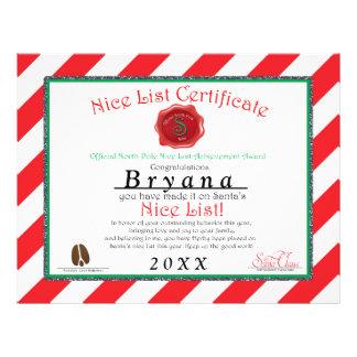 Personalized Santa's NICE LIST CERTIFICATE 21.5 Cm X 28 Cm Flyer