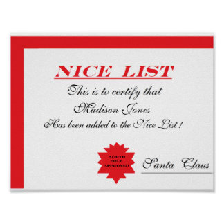 "Personalized Santa's ""Nice List"" Certificate Poster"