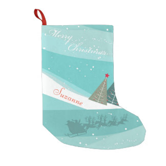 Personalized Santa's Sleigh Turquoise Small Christmas Stocking